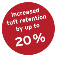 Increased tuft rentention by up to 20%