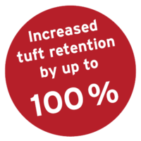 Increased tuft retention by up to 100%